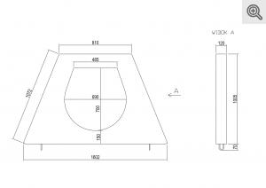 Rysunek murku czołowego prostego do przepustu fi 400, 500, 600