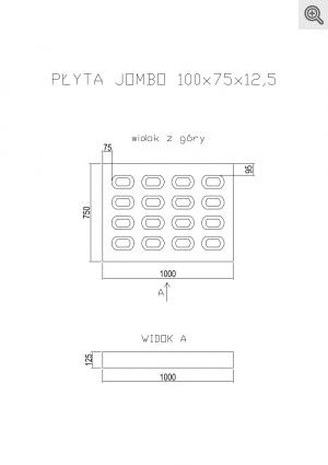 Rysunek płyty jombo pojedynczo zbrojonej o wymiarach 100x75x12,5
